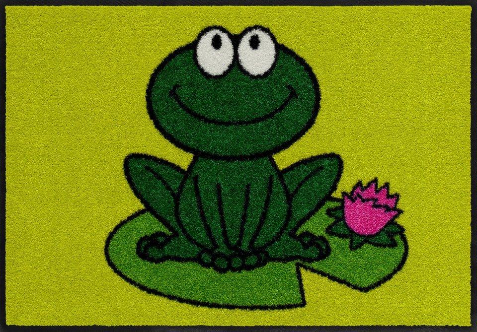 Fußmatte, Salonloewe, »Funky Frog«, waschbar, In- und Outdoor mit rutschhemmender Beschichtung in Grün