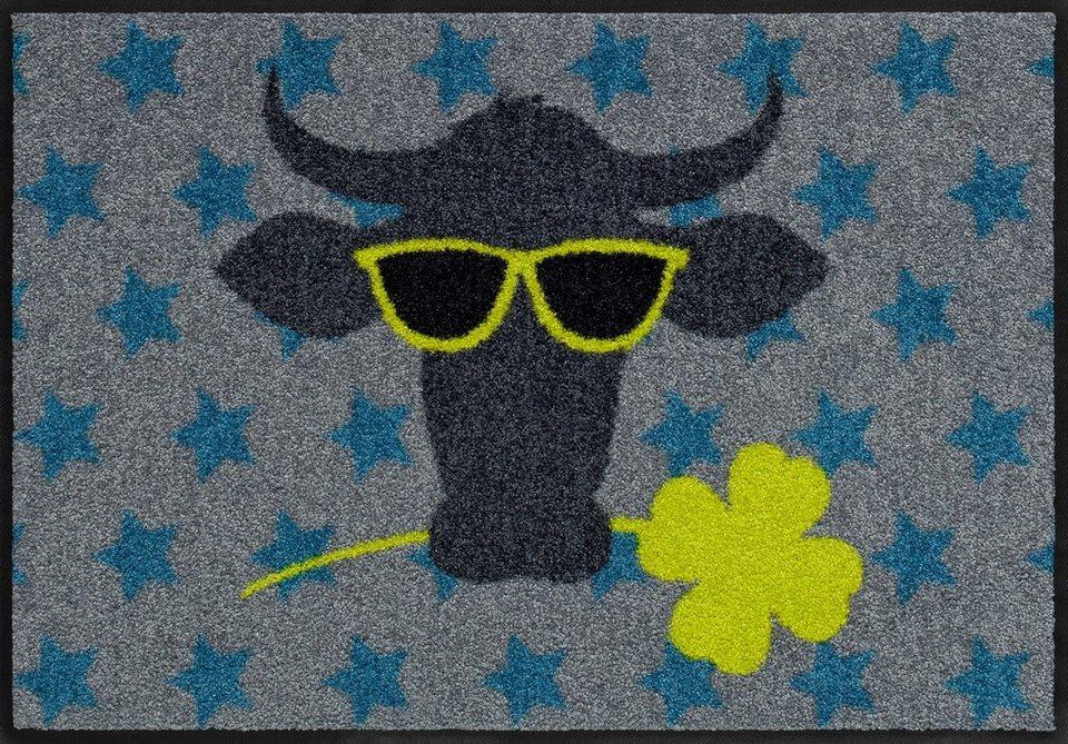 Fußmatte, Salonloewe, »Funky Cow«, waschbar, In- und Outdoor mit rutschhemmender Beschichtung in Bunt