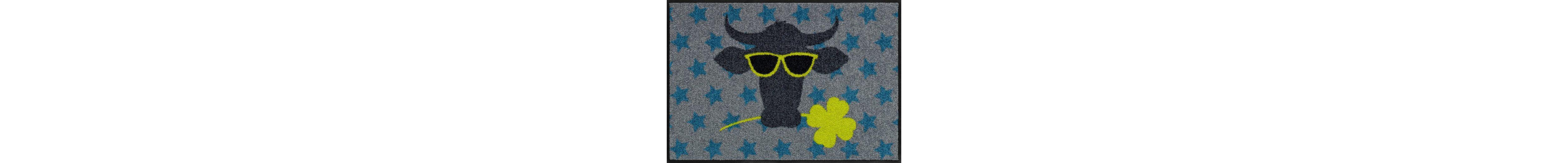 Fußmatte, Salonloewe, »Funky Cow«, waschbar, In- und Outdoor mit rutschhemmender Beschichtung