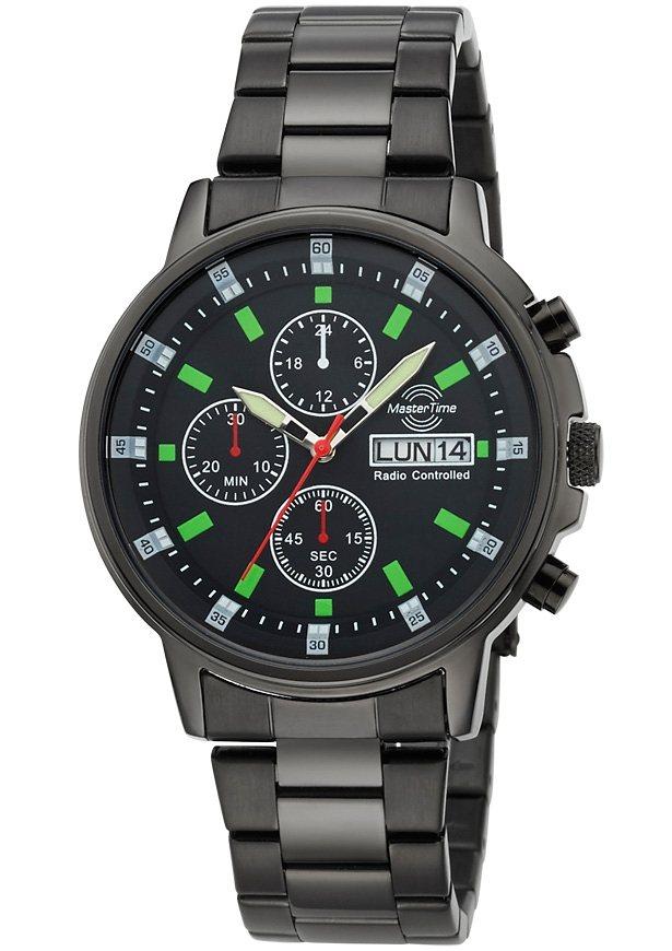 MASTER TIME Funkuhr »MTGS-10485-21M« mit Langzeitbatterie in schwarz