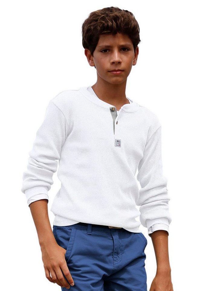 CFL Langarmshirt aus Rippware in weiß