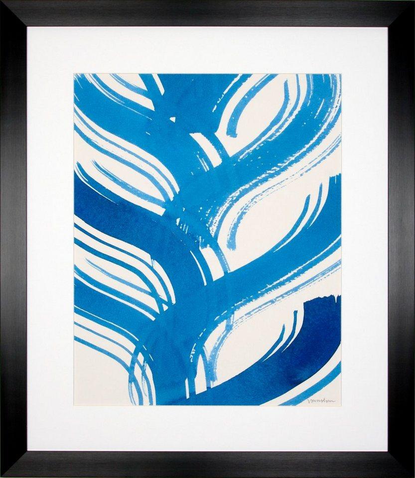 G&C gerahmter Kunstdruck »Lam: Macrame Blue Motiv 2«, 55/65 cm in Weiß/blau