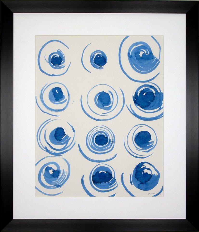G&C gerahmter Kunstdruck »Lam: Macrame Blue Motiv 3«, 55/65 cm in Weiß/blau