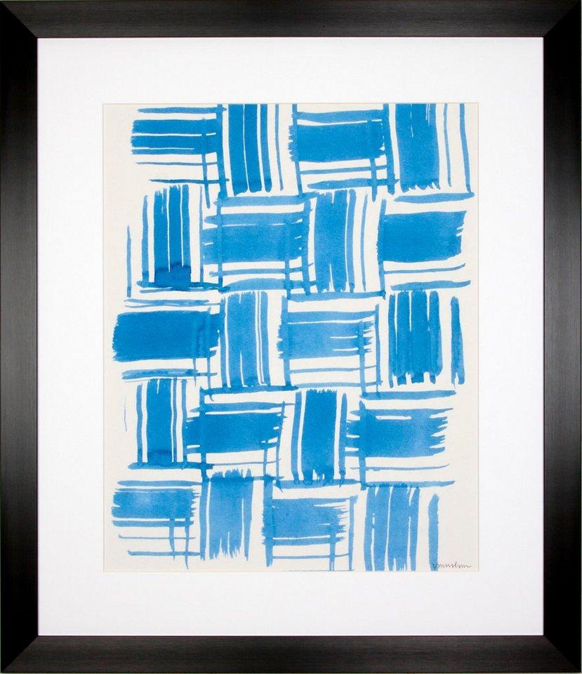 G&C gerahmter Kunstdruck »Lam: Macrame Blue Motiv 4«, 55/65 cm in Weiß/blau