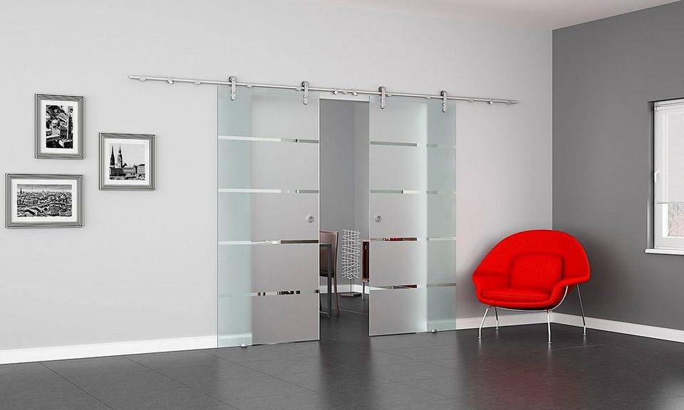 Doppel-Glasschiebetür »Dorma Agile 50 Alu EV1 Satiniert 4Streifen«