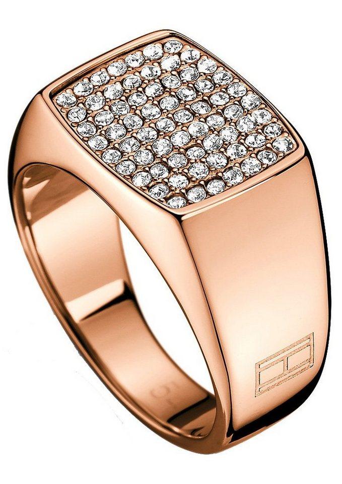 Tommy Hilfiger Ring mit Swarovski-Kristallen, »Classic Signature, 2700734B-E« in roségoldfarben