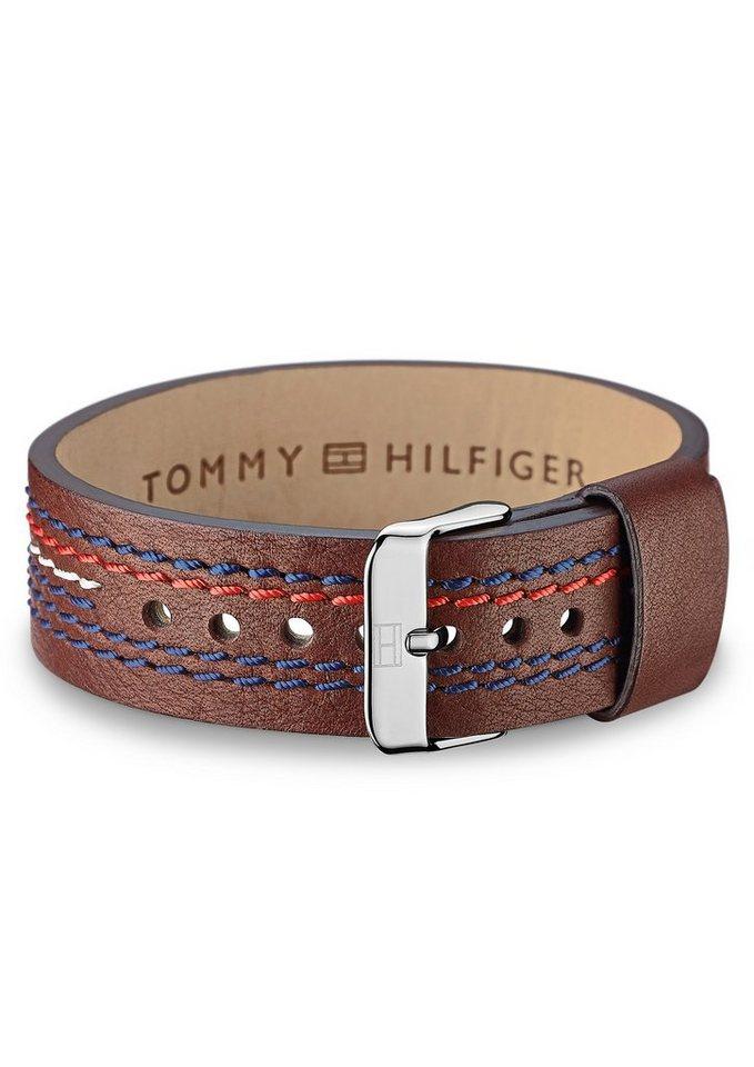 Tommy Hilfiger Lederarmband mit Textilnaht, »Men's Casual, 2700685« in braun/silberfarben