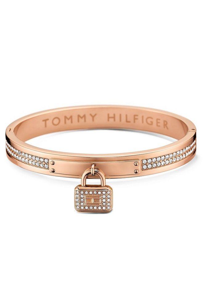 Tommy Hilfiger Armreif mit Schloss und Swarovski-Kristallen, »Classic Signature, 2700711« in roségoldfarben