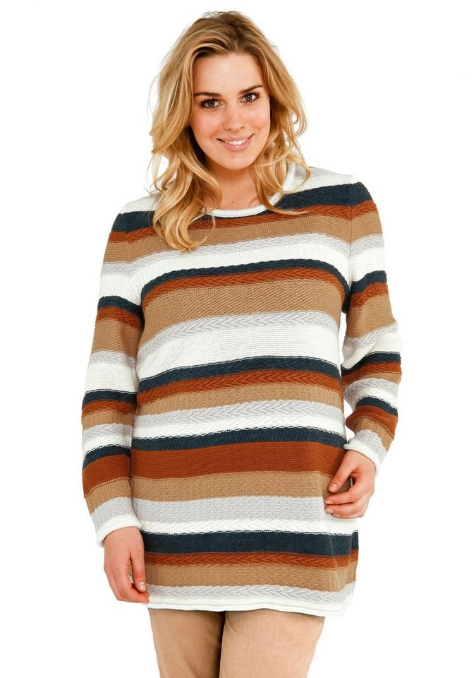 sheego Trend Longpullover in gestreift