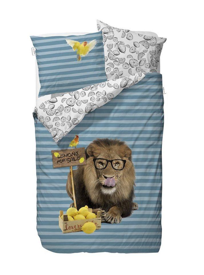 Kinderbettwäsche, Covers & Co, »Lemon Lion«, mit Löwen-Motiv in blau