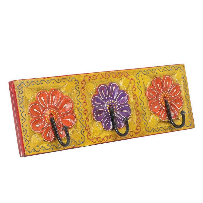 Casa Moro Garderobenleiste »Orientalische Kleiderhaken Amita D handbemalte Hakenleiste mit 3 Haken (34,5 x 11,5 x 6 cm) mit schönen bunten Blumenmustern aus massiv Holz handgeschnitzt, MA12-03-D«, MA12-03-D