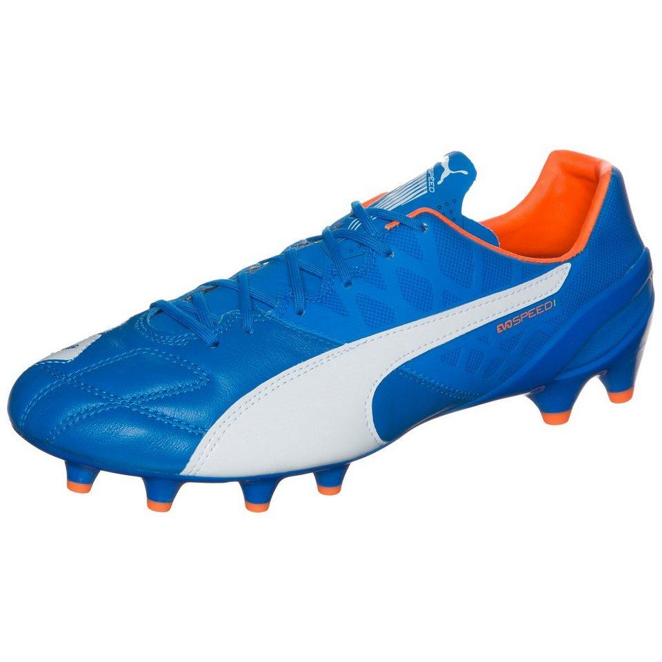 PUMA evoSPEED 1.4 Leather FG Fußballschuh Herren in blau / orange