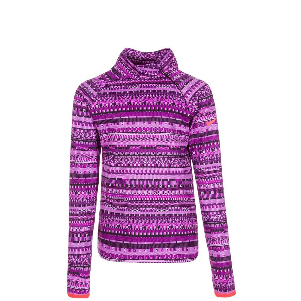 NIKE Pro Hyperwarm Flash Mock Trainingsshirt Kinder in lila / violett
