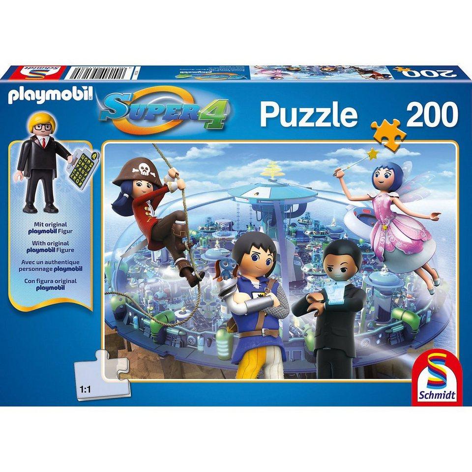 Schmidt Spiele Puzzle SUPER4 (inkl. Figur) Technopolis 200 Teile