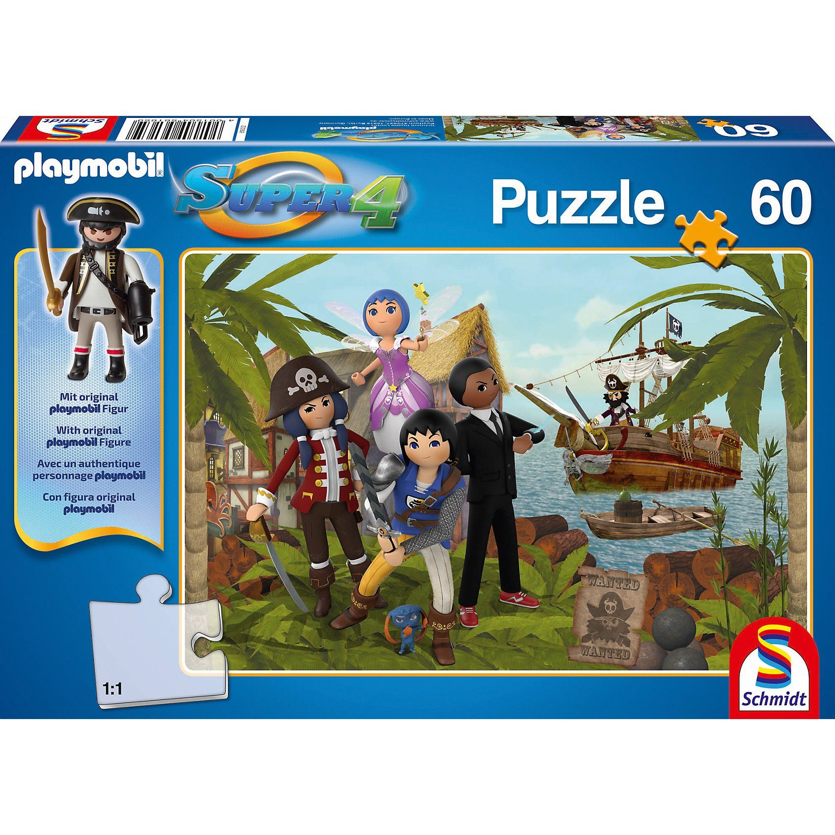 Schmidt Spiele Puzzle SUPER4 (inkl. Figur) Gunpowder Island 60 Teile