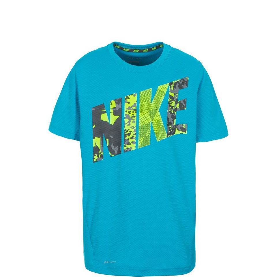 NIKE Vapor Dri-FIT Graphic Trainingsshirt Kinder in hellblau / gelb