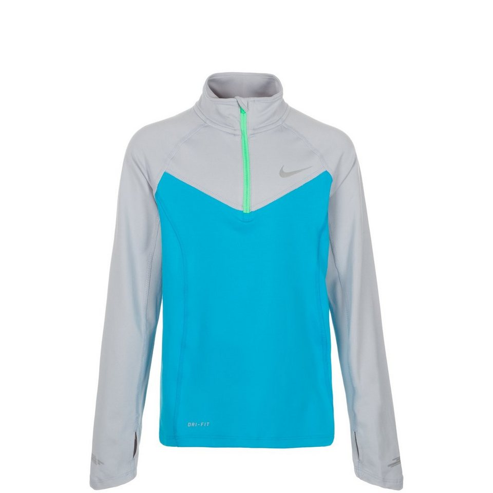 NIKE Element Halfzip Laufshirt Kinder in hellblau / grau