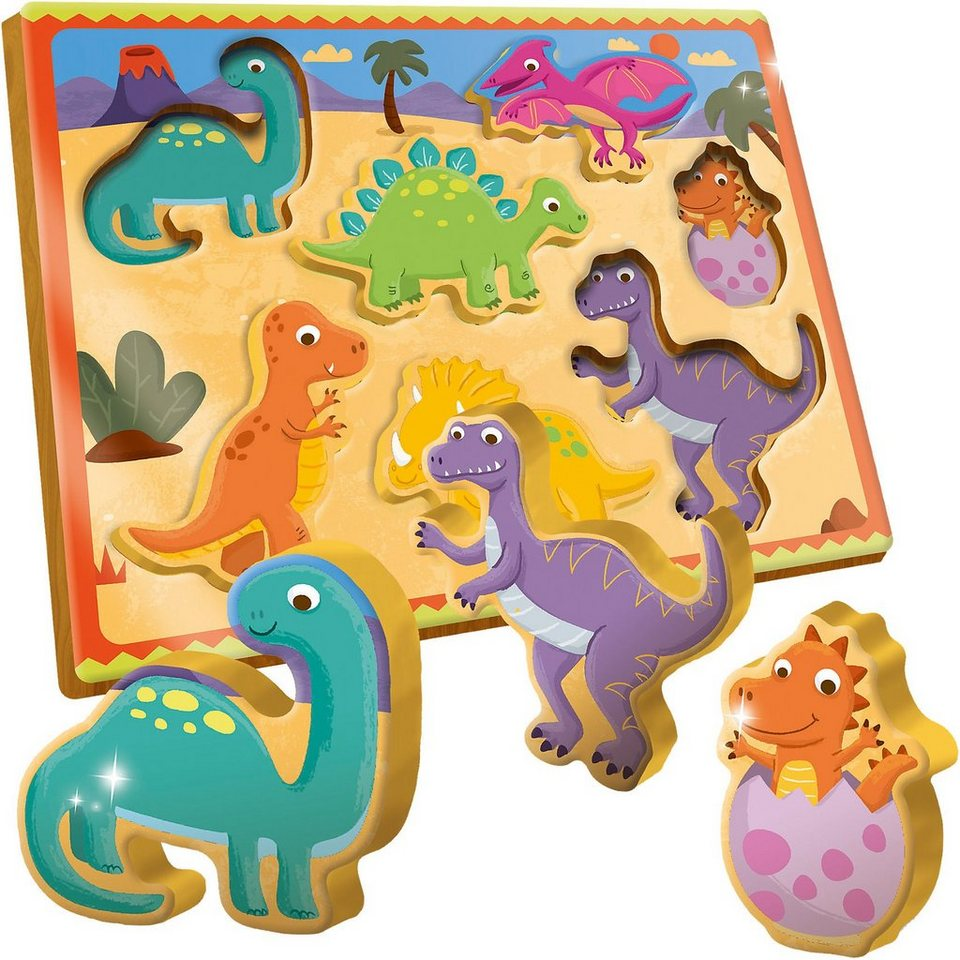 Lisciani Holzpuzzle - Dinosaurier - 7 Teile