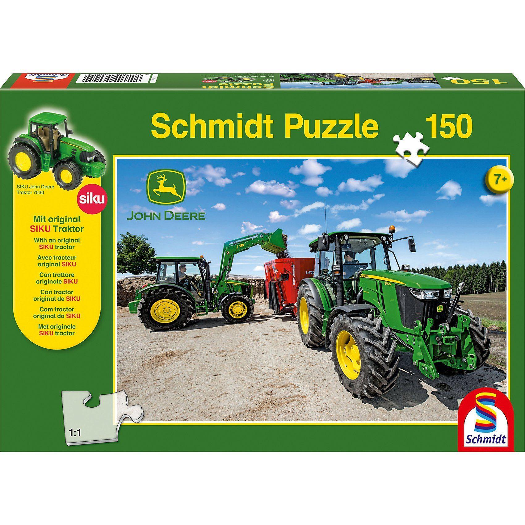 Schmidt Spiele Puzzle John Deere Traktoren der 5M Serie 150 Teile + SIKU Tr
