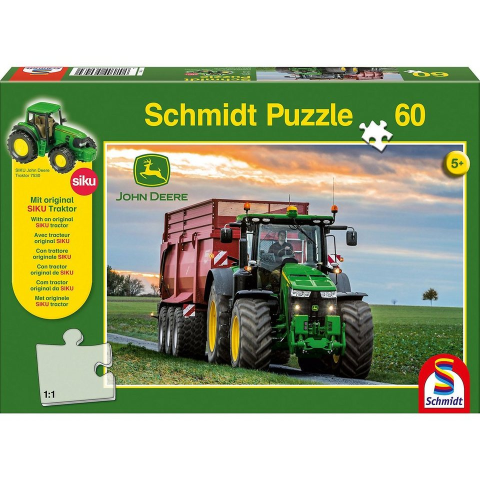 Schmidt Spiele Puzzle John Deere 8370R Traktor 60 Teile, inkl. Original SIK