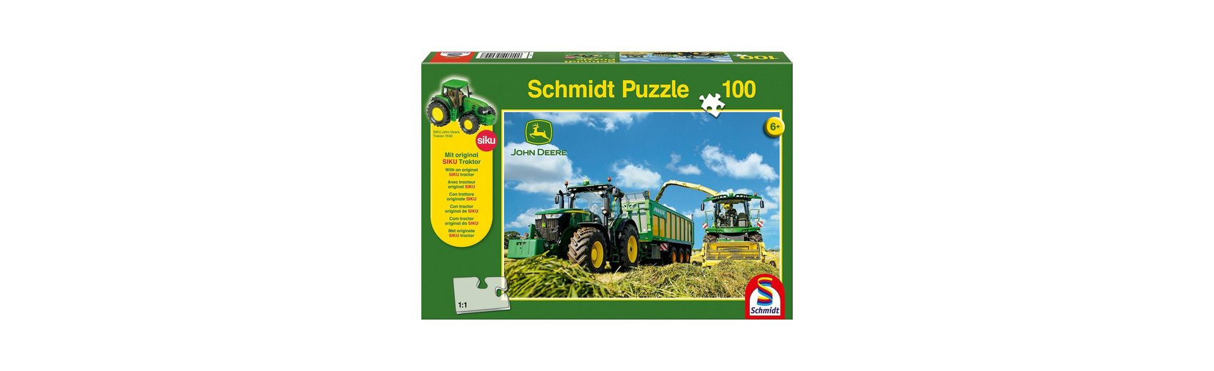 Schmidt Spiele Puzzle John Deere 7310R Traktor mit 8600i Feldhäcksler, 100