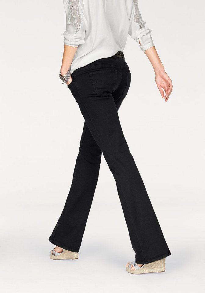 s.Oliver Denim Bootcut-Jeans in schwarz