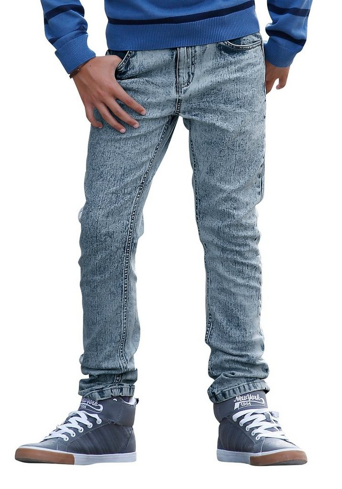 Buffalo Stretch-Jeans Regular-fit mit schmalem Bein in light-blue-moonwashed