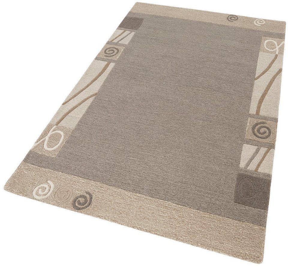 Teppich, Home Affaire Collection, »Clivia«, handgearbeitet, reine Schurwolle in natur grau