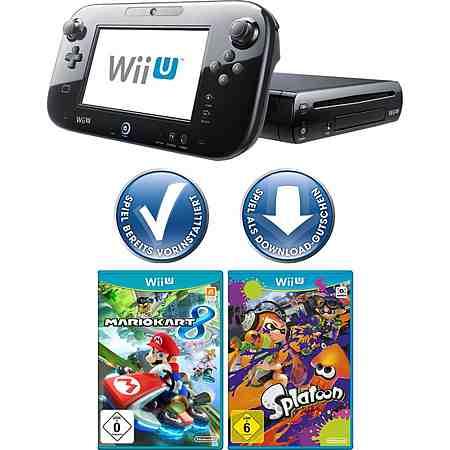 Wii U Premium Pack + Mario Kart 8 + Splatoon mit 3 Jahren Garantie *