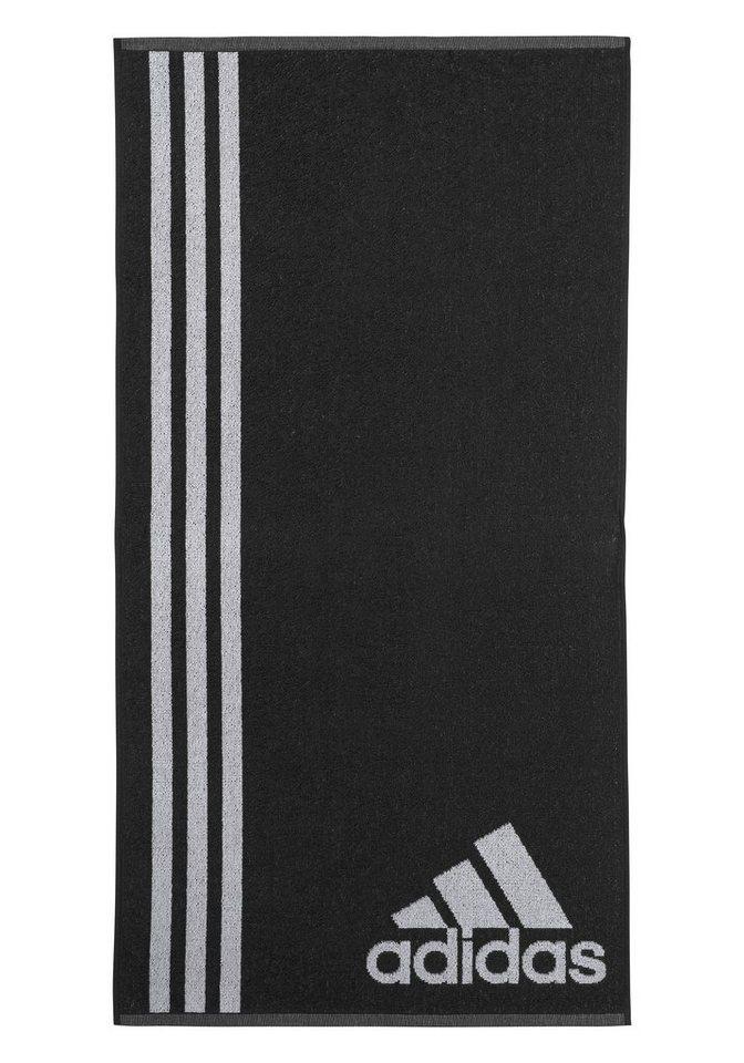 Handtuch, adidas Performance, mit drei großen Streifen in schwarz
