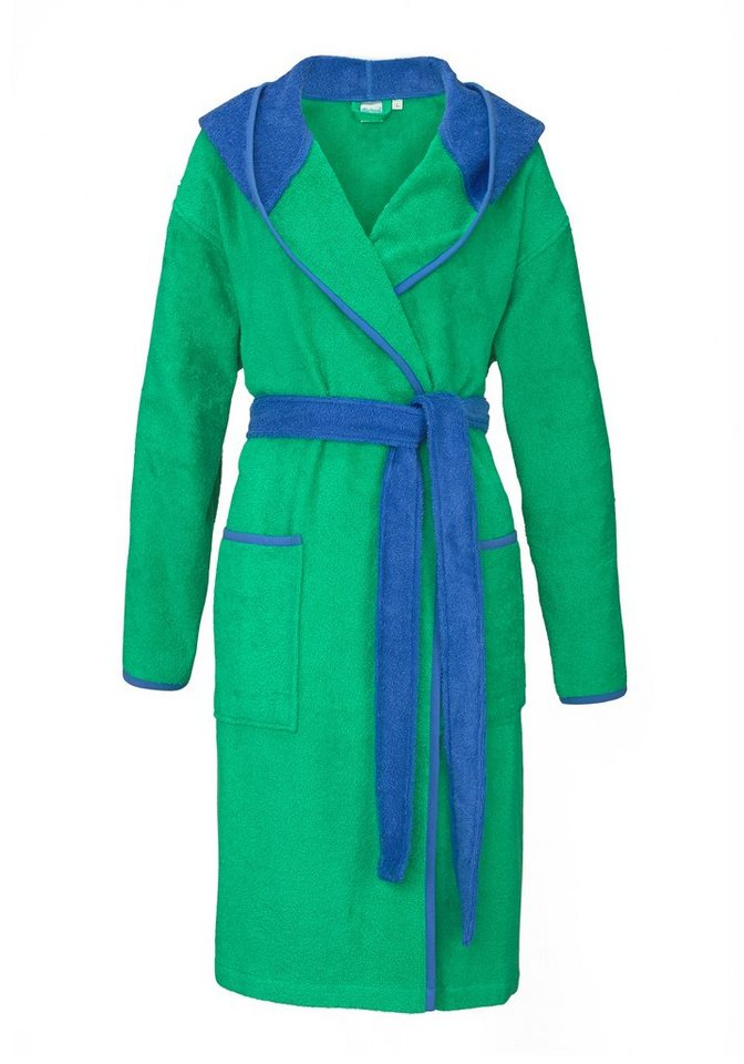 Damenbademantel, my home, »Linde«, mit knalliger Kapuze in grün-aqua