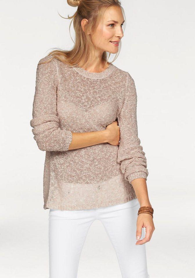 Vero Moda Strickpullover »Arleen« mit offenem Rücken in rosé-weiß