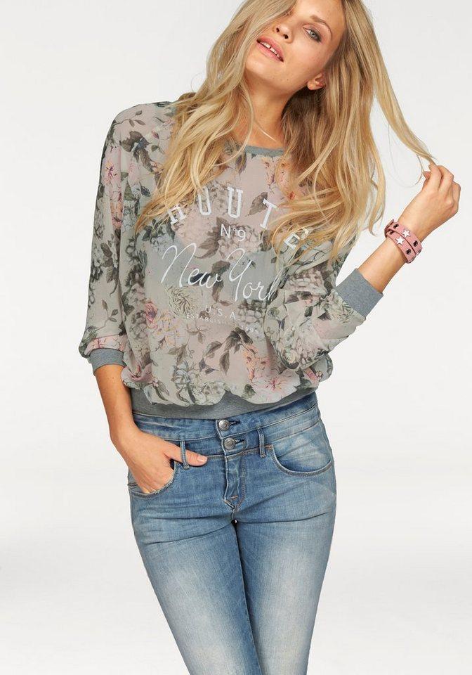Only Shirtbluse »Zabina« mit Blumendruck in hellgrün-geblümt