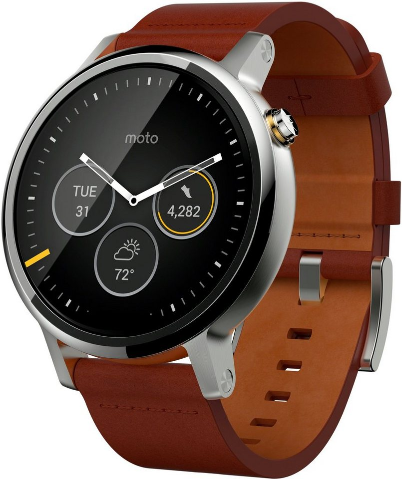 Moto 360 (2. Gen.) 46mm - mit Lederarmband in cognac, Android Wear, 3,05 cm (1,2 Zoll) LCD Display in Silberfarben