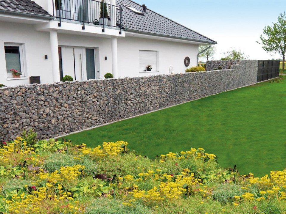 Zaun »Gabionen-Mauersystem Limes Anbausatz 112 x 12 cm«