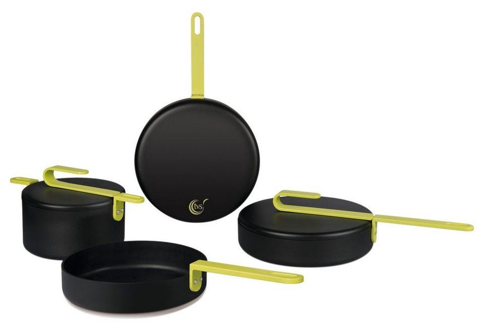 tvs Kochtopf-Set, Aluminium, Induktion, »hook« (4tlg.) in schwarz/Griff limettengrün
