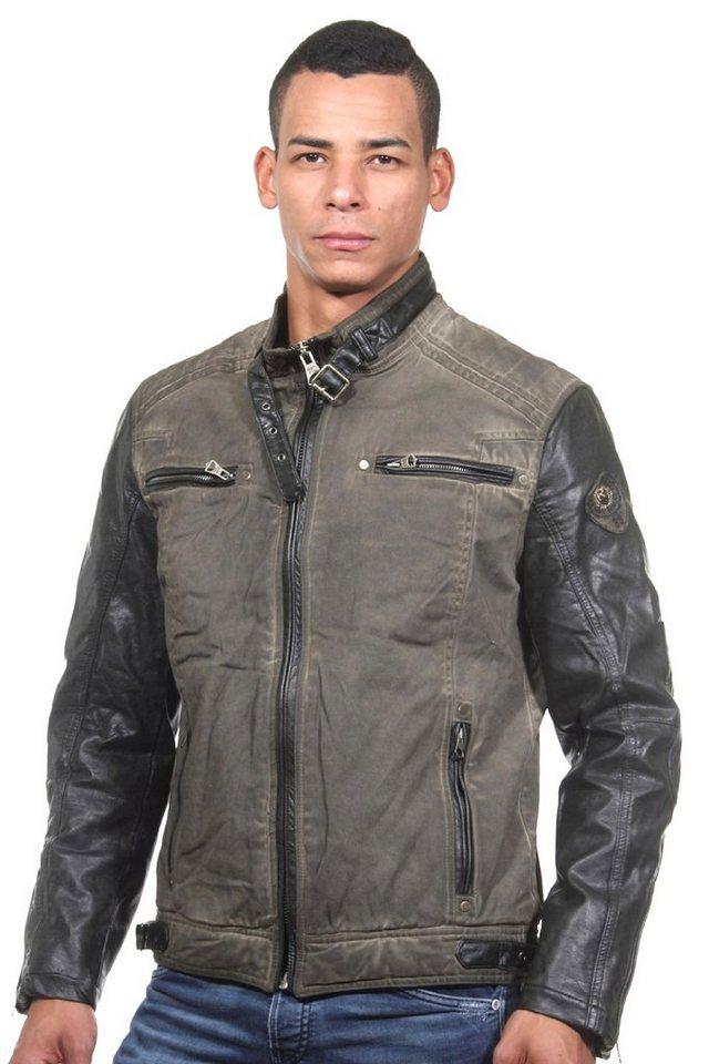 R-NEAL Jacke mit Stehkragen slim fit in khaki/olive