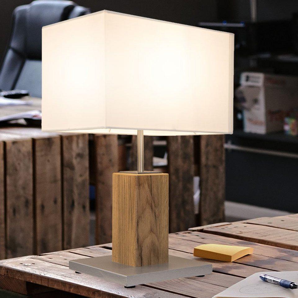 etc shop Tischleuchte, Textil Nacht Schreib Tisch Leuchte Wohn Ess Zimmer  Beleuchtung Holz Beistell Lampe eiche im Set inkl. LED Leuchtmittel online  ...