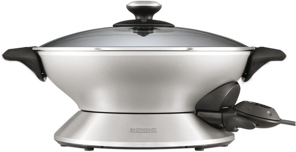 Gastroback Wok >>Design Wok Advanced Pro 42515<<, 2400 Watt, silber/schwarz in silber / schwarz