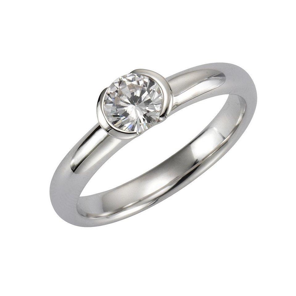 Zeeme Ring »925/- Sterling Silber Zirkonia weiß« in weiß