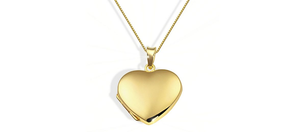 goldmaid Collier Medaillon in Herzform 375/- Gelbgold