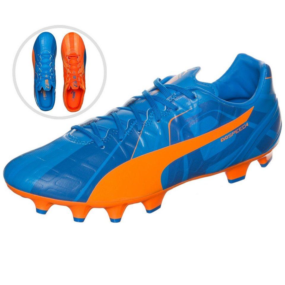 PUMA evoSPEED 4 Head To Head FG Fußballschuh Herren in blau / orange / weiß