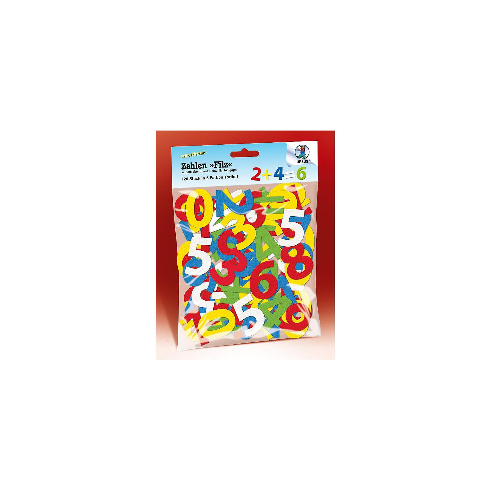 URSUS Stanzteile Filz Zahlen, 120 Stück in 5 Farben
