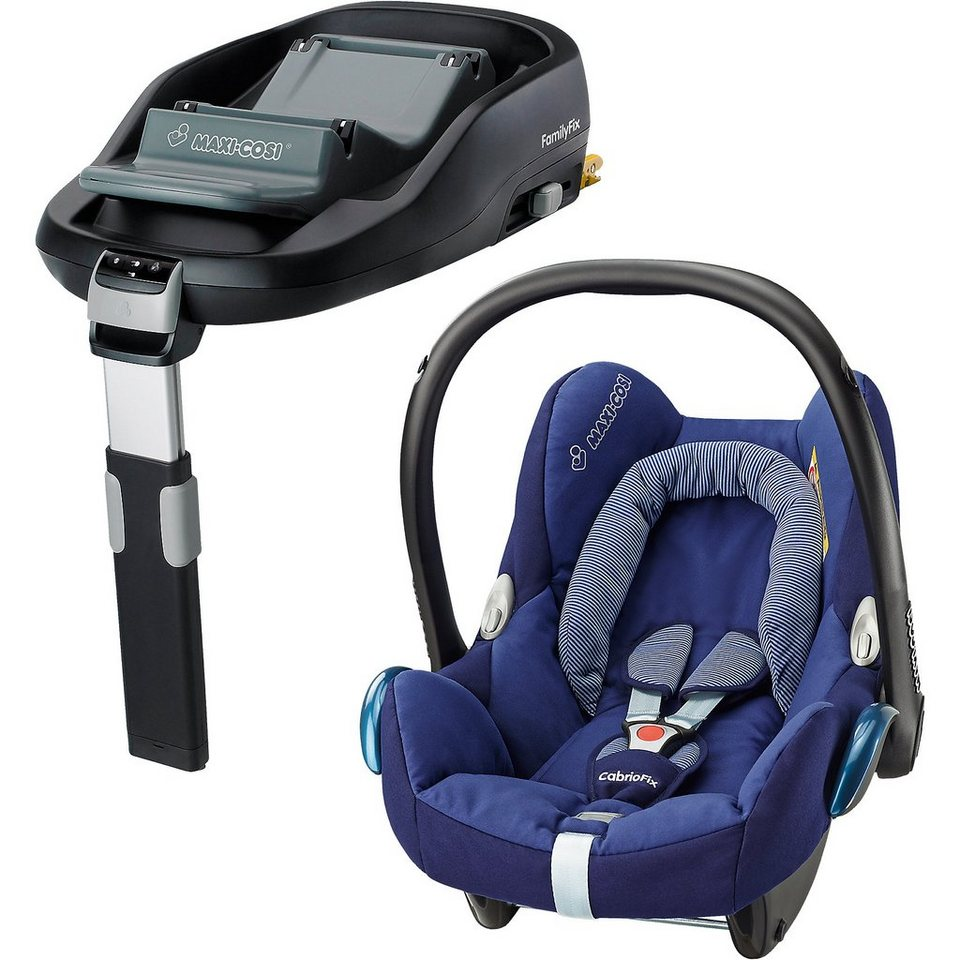 Maxi-Cosi Babyschale Cabriofix, river blue, inkl. FamilyFix in blau