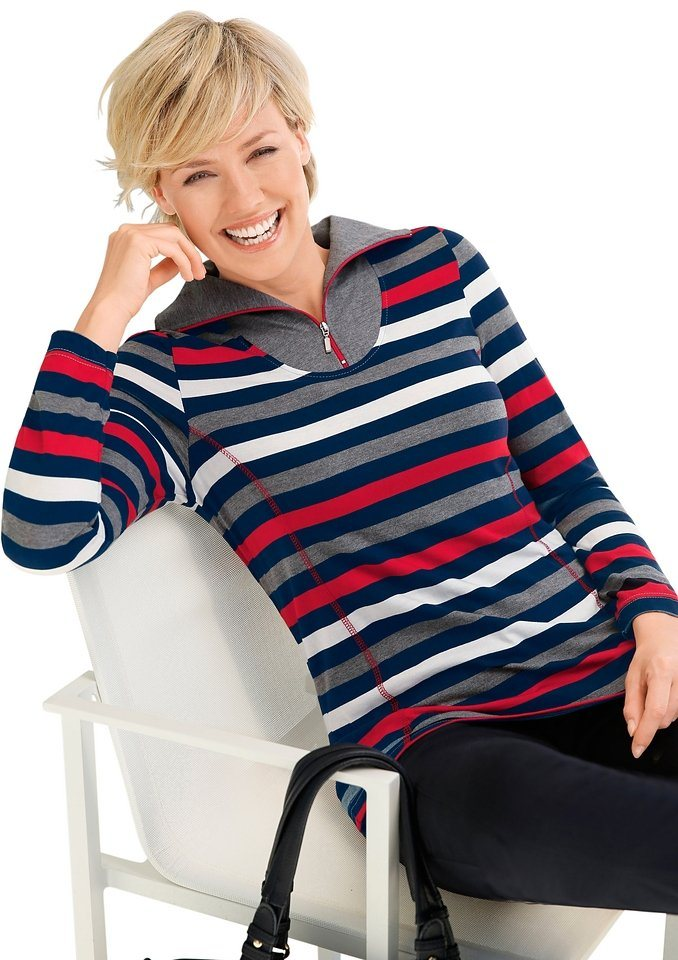 Collection L. Shirt in weicher PURE WEAR-Qualität in rot-marine-gestreift