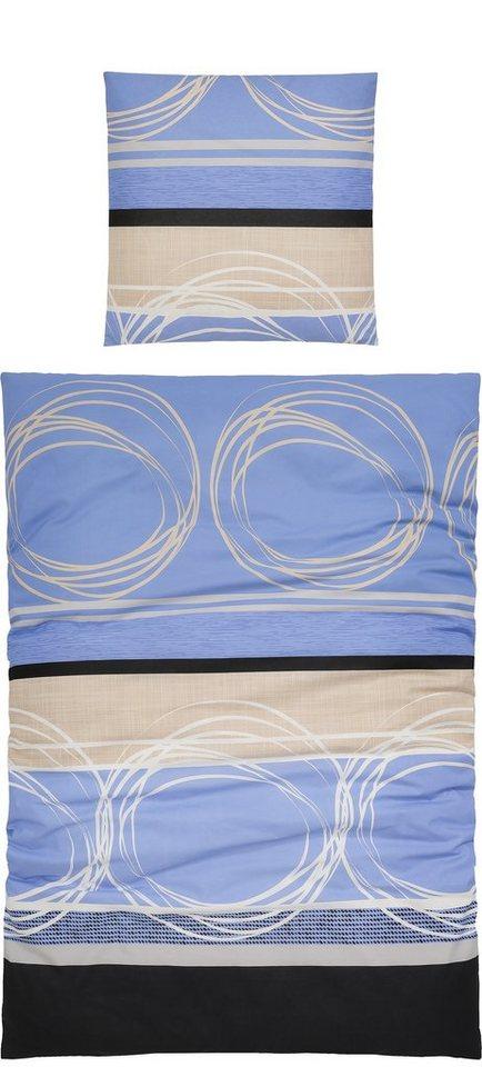 Bettwäsche, Ecorepublic Home, »Dance«, mit feinen Kreisen in blau-creme