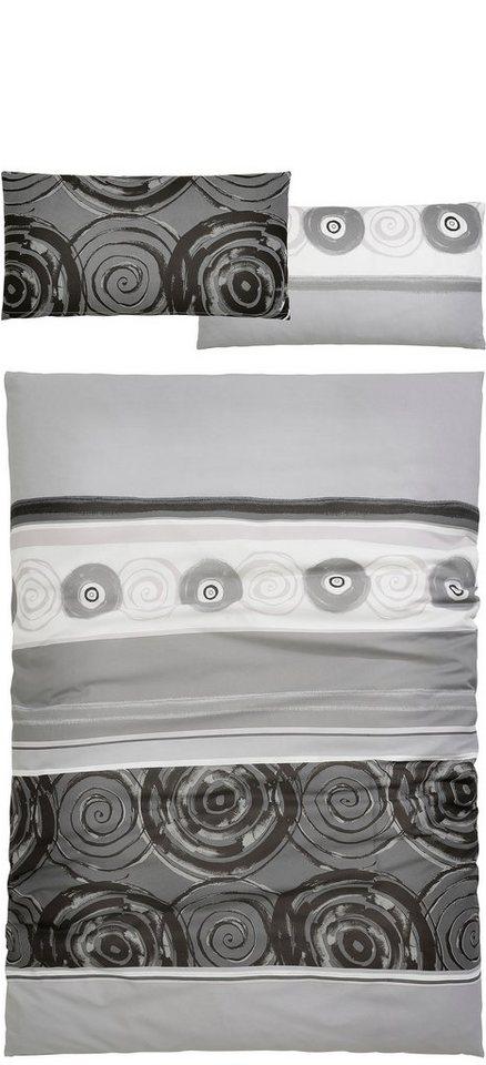 Bettwäsche, Auro Hometextiles, »Tyler«, mit kreisförmigen Ornamenten in graphit