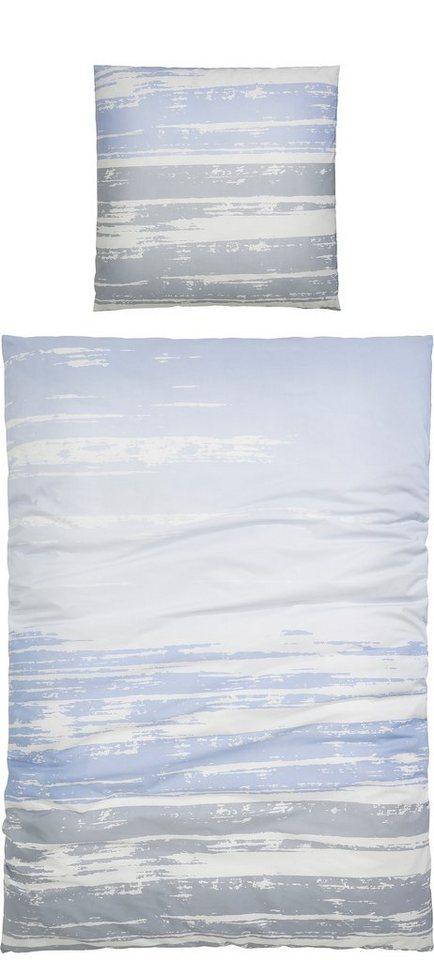 Bettwäsche, Casatex, »Urbana«, mit verwischten Linien in blau-grau