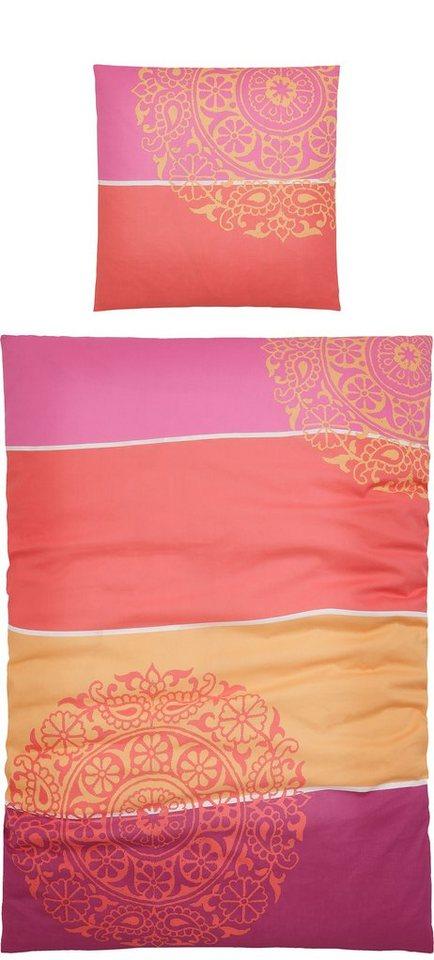 Bettwäsche, Living Dreams, »Maren«, mit großen Ornamenten in pink-coral
