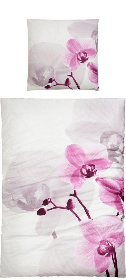 Bettwäsche, Sister S, »Orchidee«, mit großer Blume in rosé